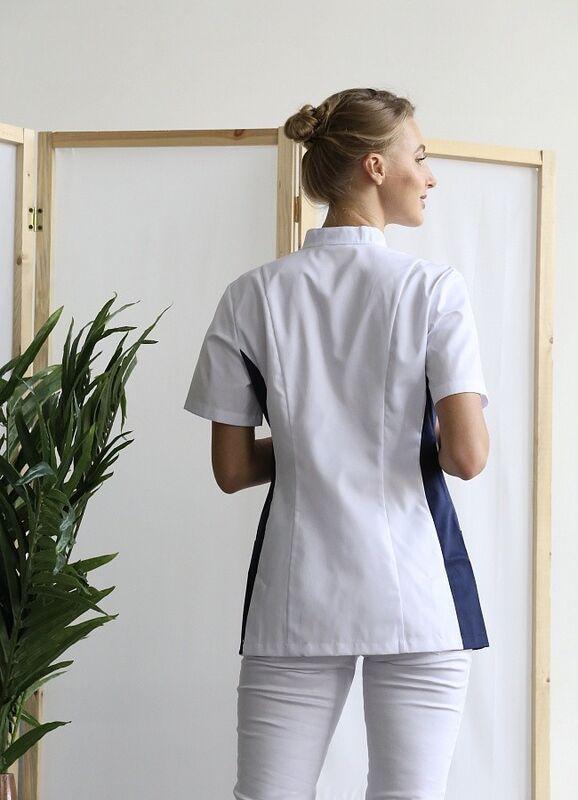 Доктор Стиль Медицинская блуза «Венеция» cиняя ЛУ 1228.29 - фото 3