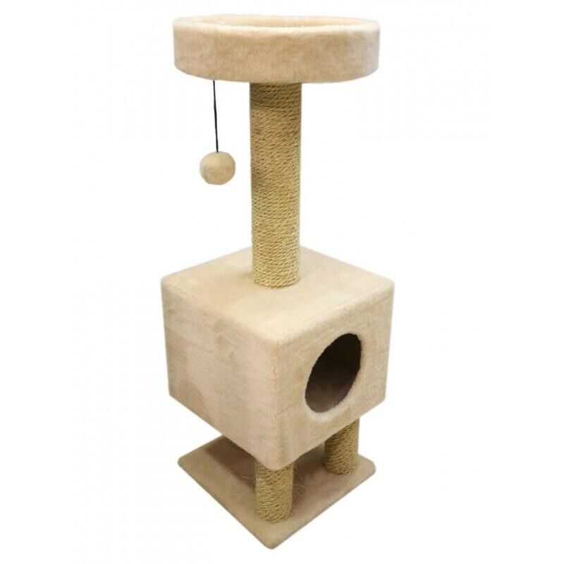 Когтеточка Cat House Когтеточка «Домик на ножках» из меха и сизаля - фото 1